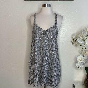 Free People Gray & White V-neck Knit Tank Top